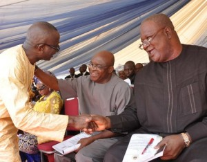 Senate Leader, Victor Ndoma Egba exchanging pleasantries with the Senate President, David Mark and SGF, Senator Pius Anyim who represented President Jonathan at late Justice Ndoma Egba's burial yesterday at Akparabong, Ikom LGA in CRS yesterday.