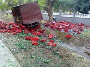 Scene of Coca Cola truck accident this afternoon in Calabar