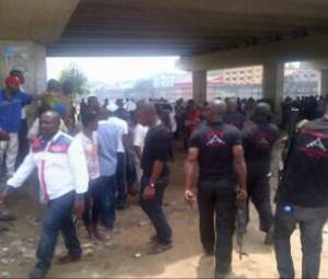 mobile police at the scene of the festac link bridge explosion