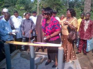 Mrs. Ima Nsa-Adegoke commissioning a borehole at Eseku Community, Odukpani LGA