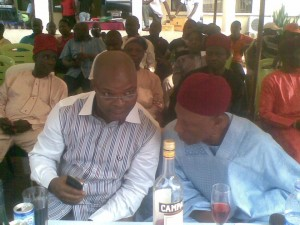 Hon, Emmanuel Ikwen (left) Obudu LG Chairman and Paramount Ruler of Obudu, Chief J.D. Agba at a previous event