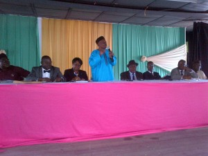 Sir Patrick Odu - Chairman, Cross River State Independent Electoral Commission, addressing participants and the press today