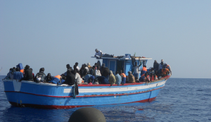 An immigrant boat on the risky journey