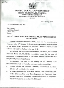 Request for overdraft: The letter that started the Award Gate