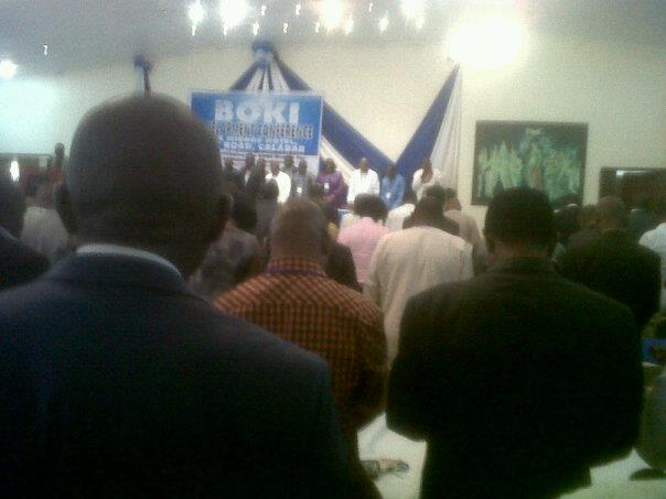 Prayer session at the conference on Saturday