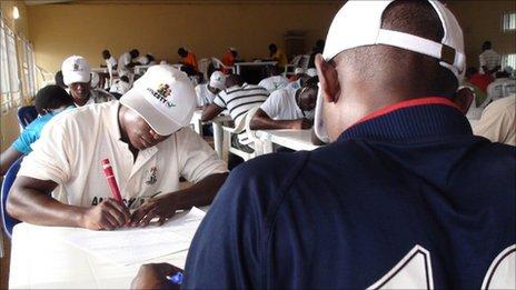 Ex-militants in class at the camp in Obubra