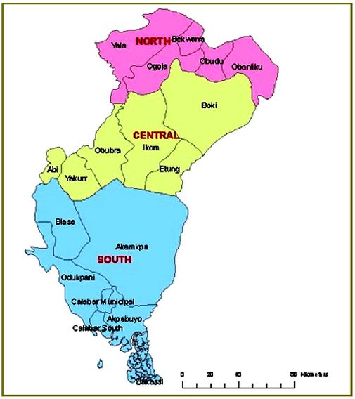 Map of Cross River State with the 18 LGAs
