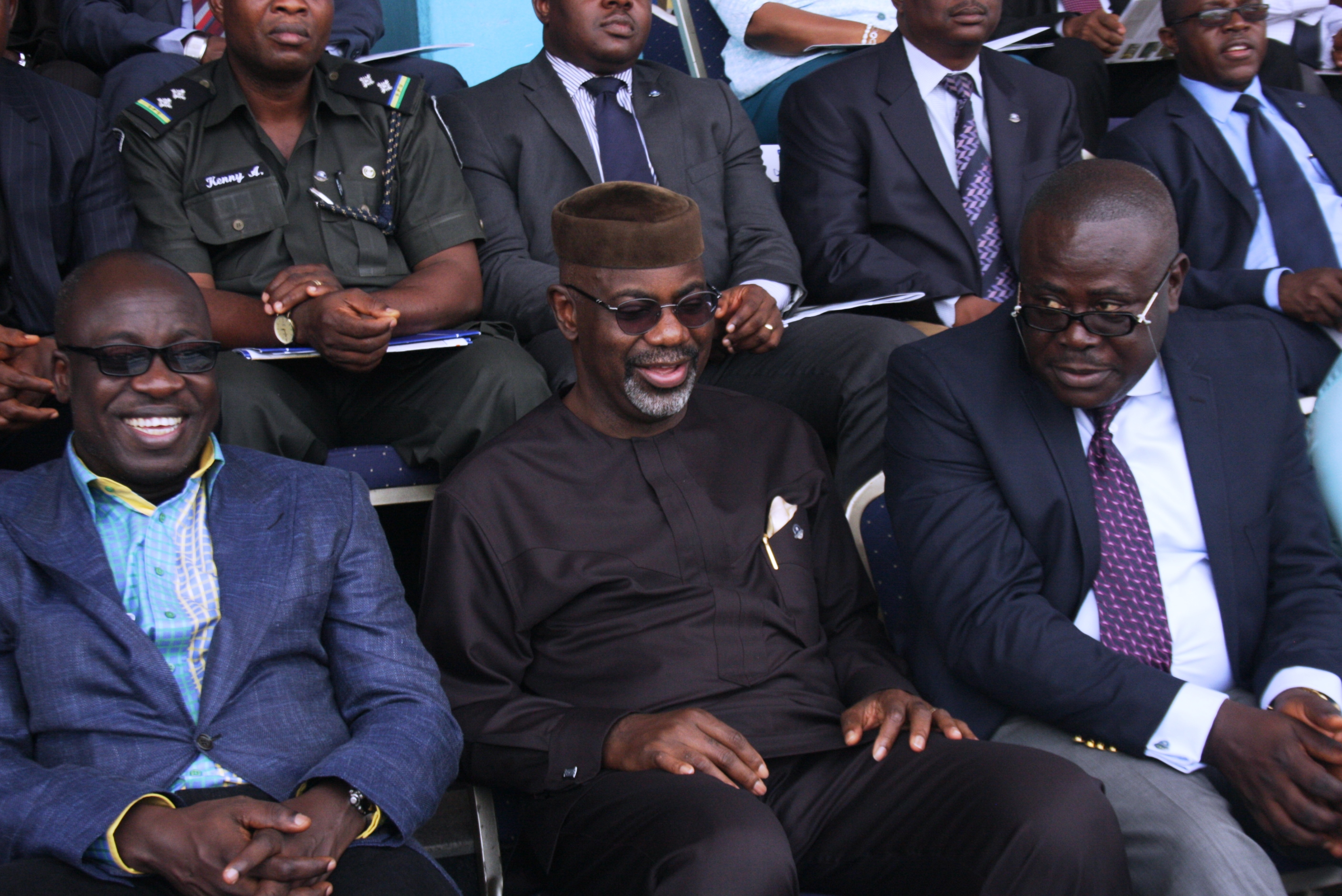 From Left, Minister of Sports Mallam Bolaji Abdullahi, Cross River State Governor, Senator Liyel Imoke and his Deputy, Mr. Efiok Cobham at the opening ceremony of the  third edition of the Cross River State/All Nigeria Athletics Championship at the U J Esuene stadium, Calabar, Wednesday