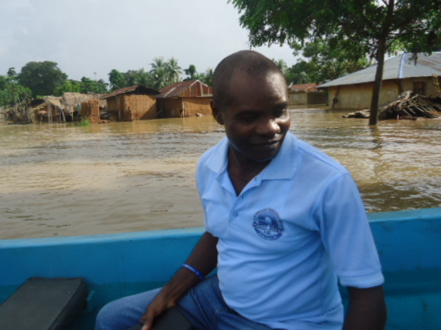 DG SEMA, Mr. Vincent Aquah assessing a flooded community in Cross River State