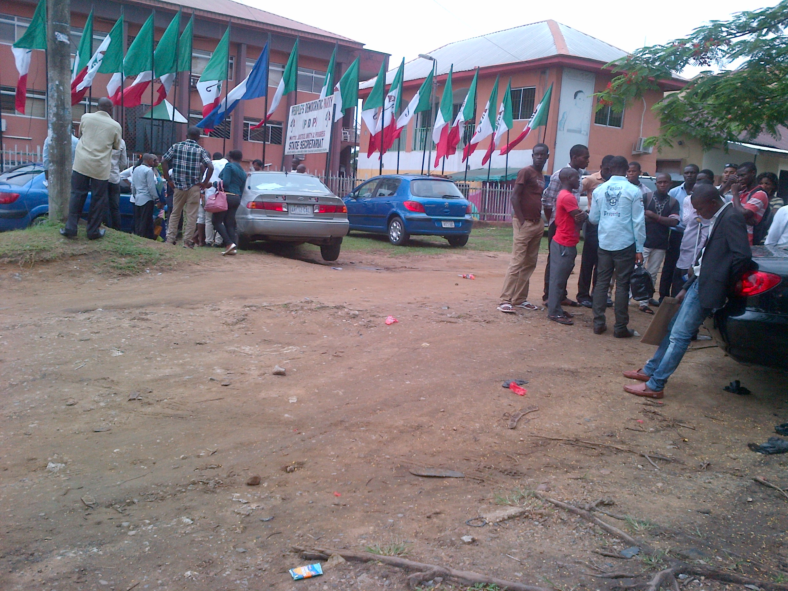 Anxious supporters at the PDP state secretariat today
