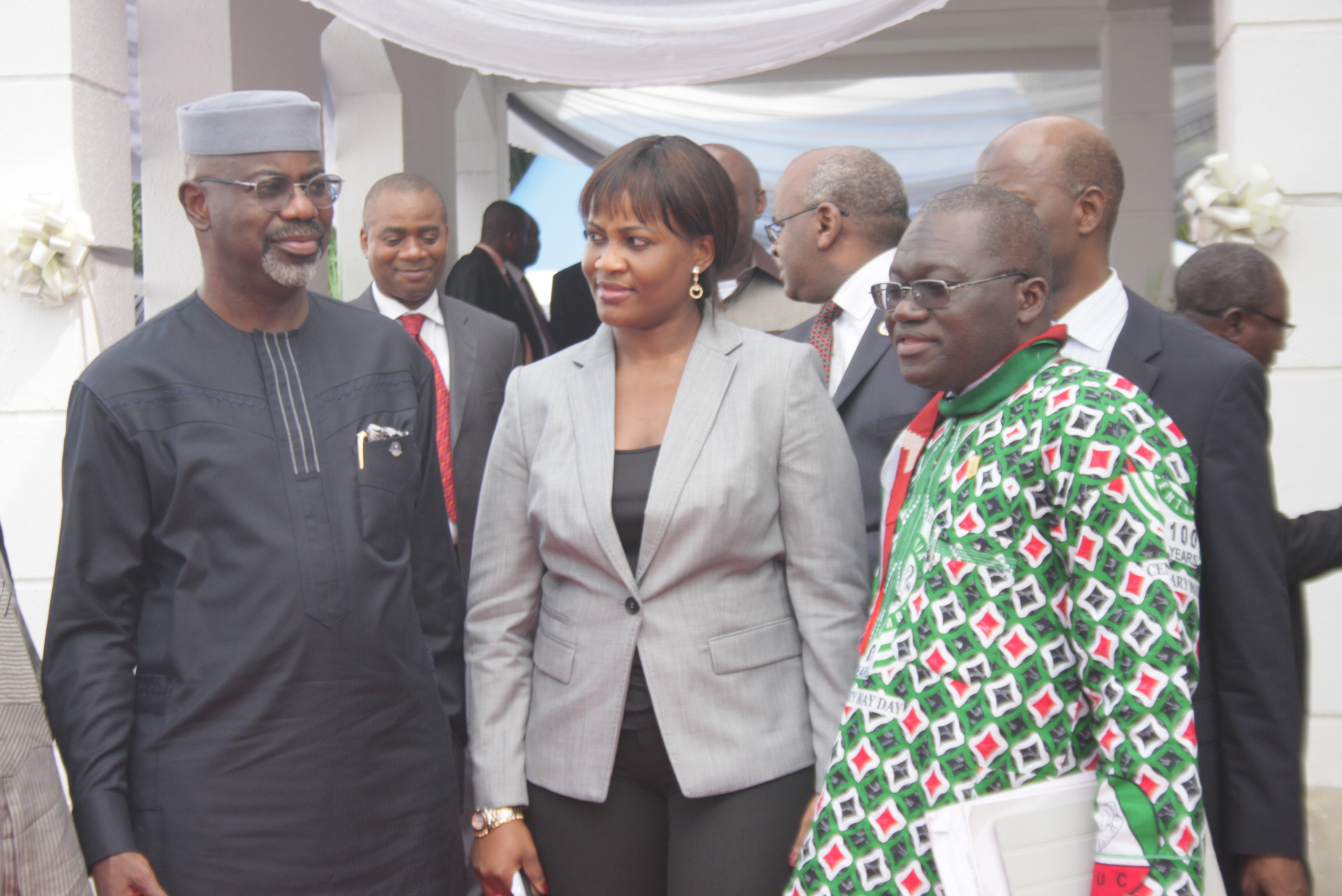From left, Acting Director General, PENCOM, Chinelo Anohu-Amazu, Cross River State Governor, Senator Liyel Imoke,Vice President of Nigerian Labour Congress, Issa Aremu shortly after inaugurating the South-South Zonal Office of PENCOM in Calabar today.