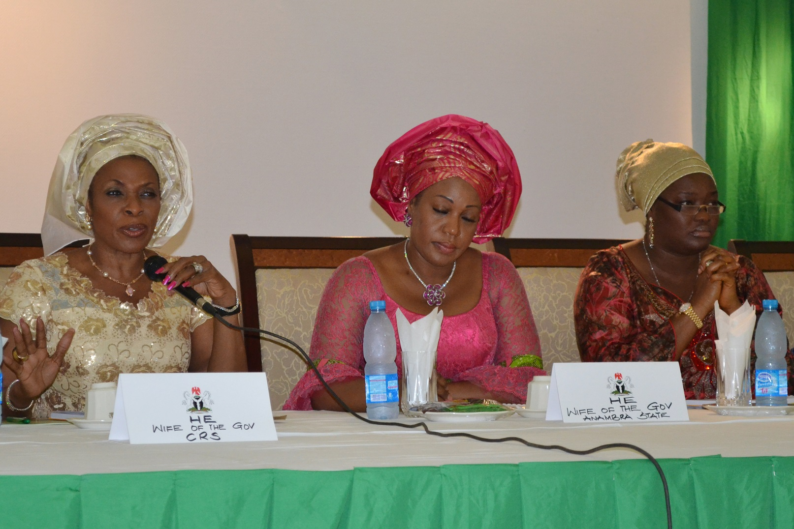 L-R Wife of Cross River State Governor, Mrs. Obioma Liyel-Imoke, Wife of Anambra State Governor, Mrs Margret Obi, and Wife of Akwa Ibom State Governor, Mrs. Unoma Godswill Akpabio, at the summit