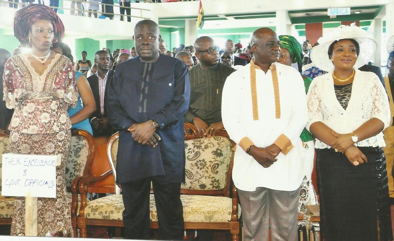 From Left: Mrs. Obioma Imoke, Barrister Efiok Cobham, Mr. Larry Odey at the wedding ceremony