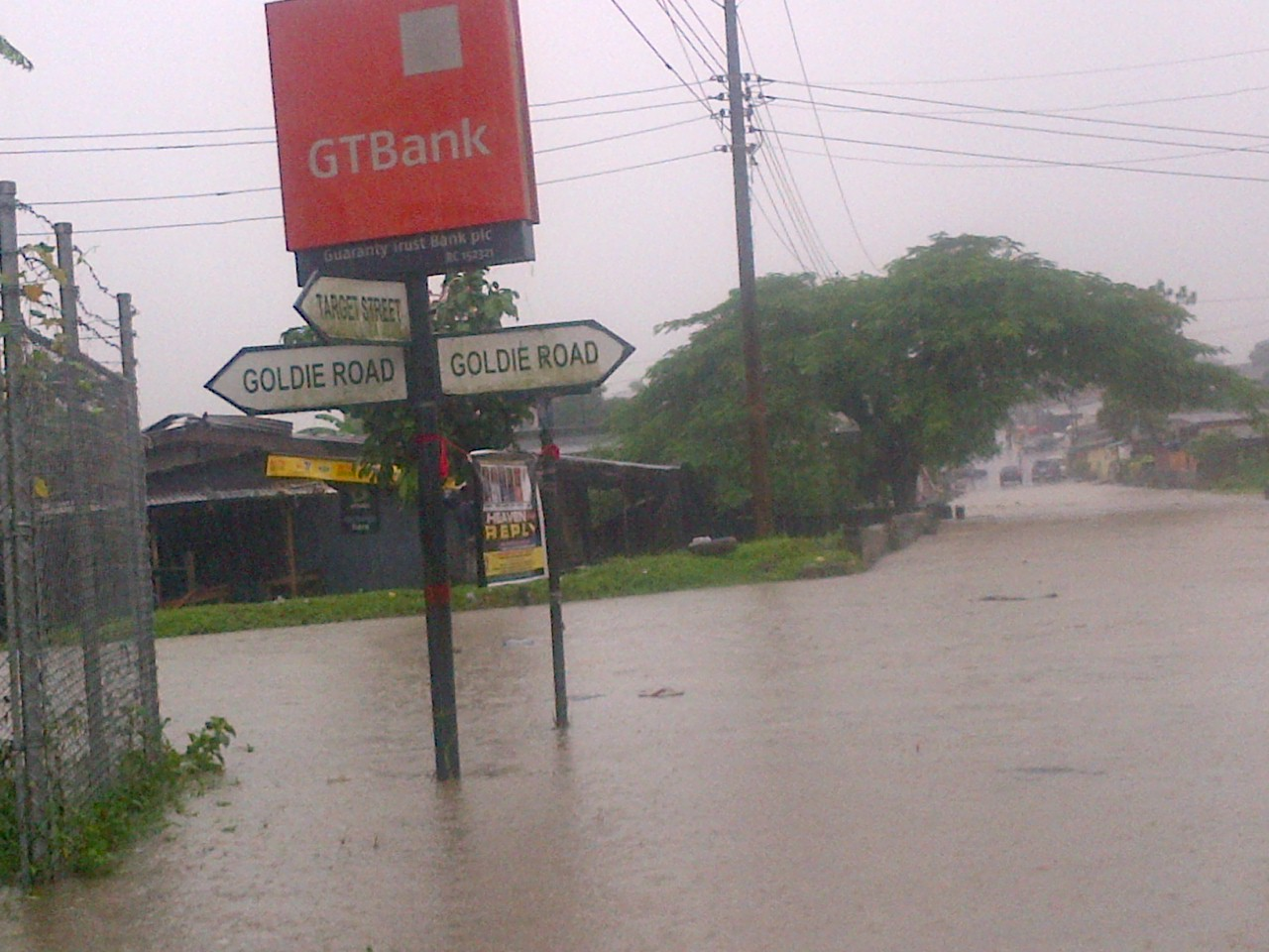 Flooded Calabar streets this morning