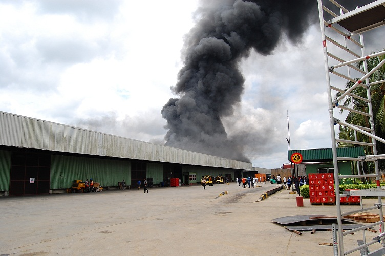 Champion breweries factory in Uyo up in flames