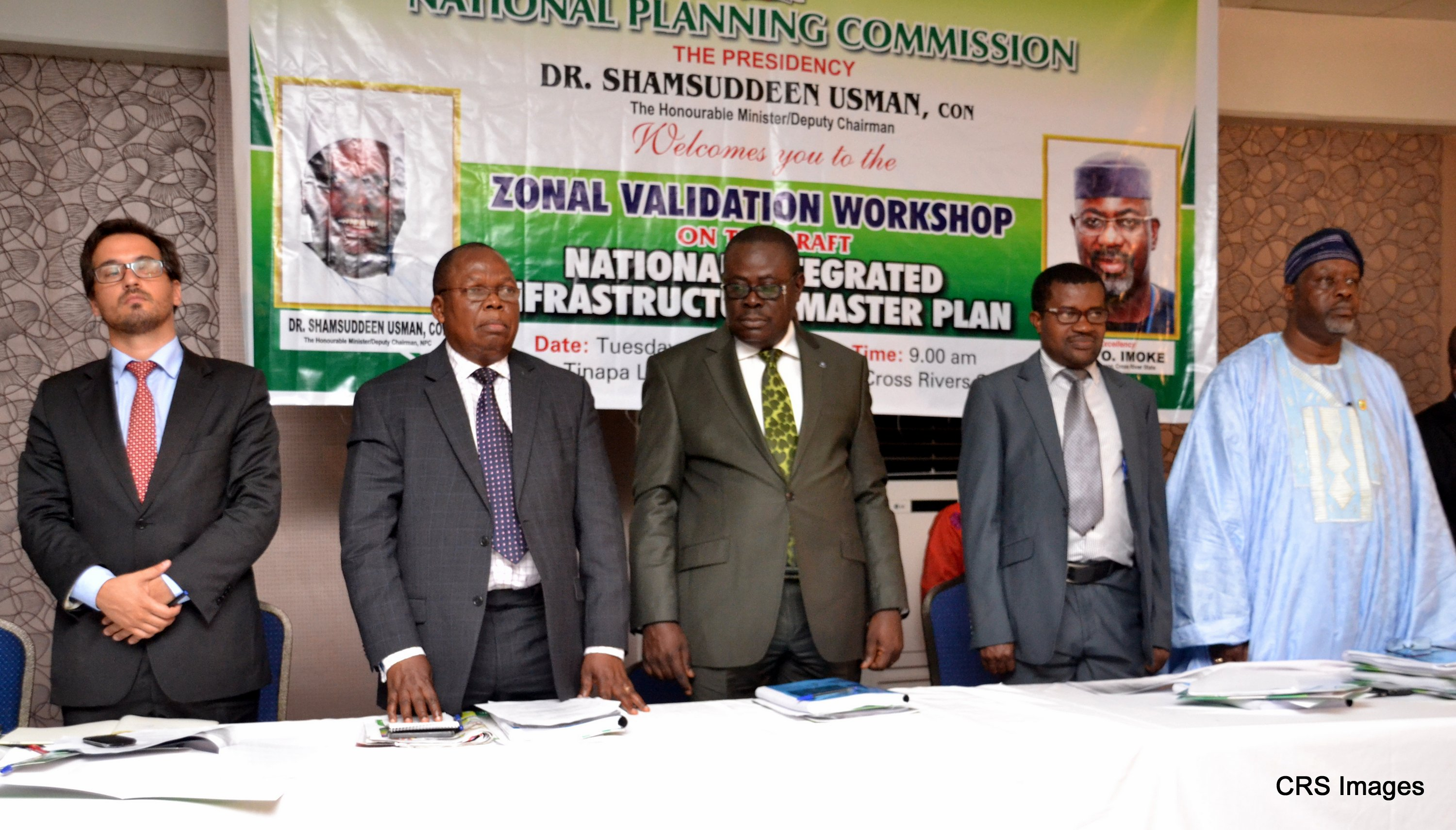 Mr. Bruno Carrilho, Mr. Fidelis Ugbo-Rep. Minister of National Planning Commission, Rep. of Senator Imoke, Deputy Governor of Cross River State, Mr. Efiok Cobham, Mr. Ndem Ayara- Ndiyo, Economic Adviser to Imoke and Engr. Olugbenga Adegun, Director, Infrastructure-NPC at the Zonal Validation Workshop on the draft National Integrated Infrastructure Master Plan( NIIMP) in Calabar.