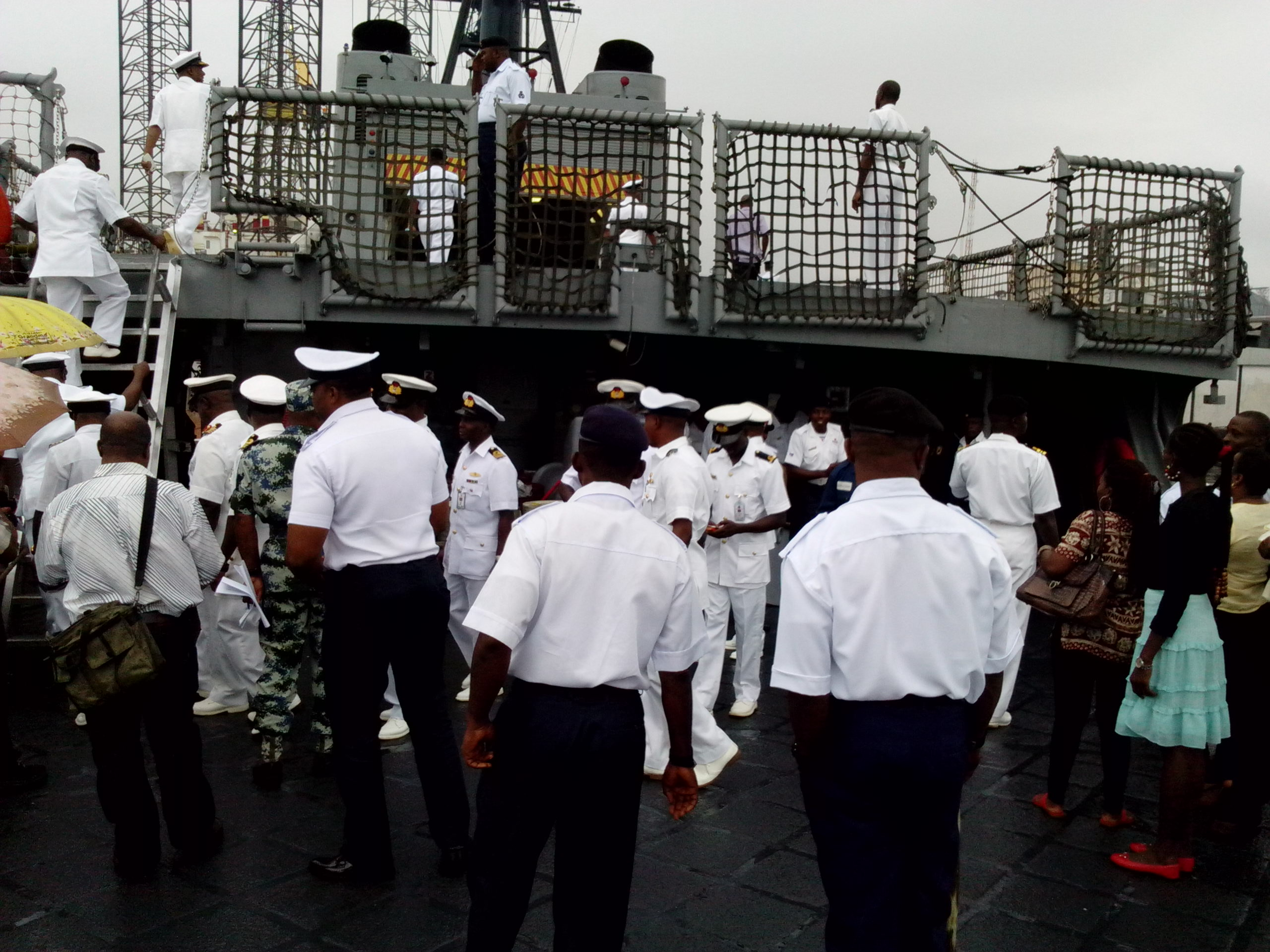 Officers and Ratings going on board NNS Thunder this morning in Calabar