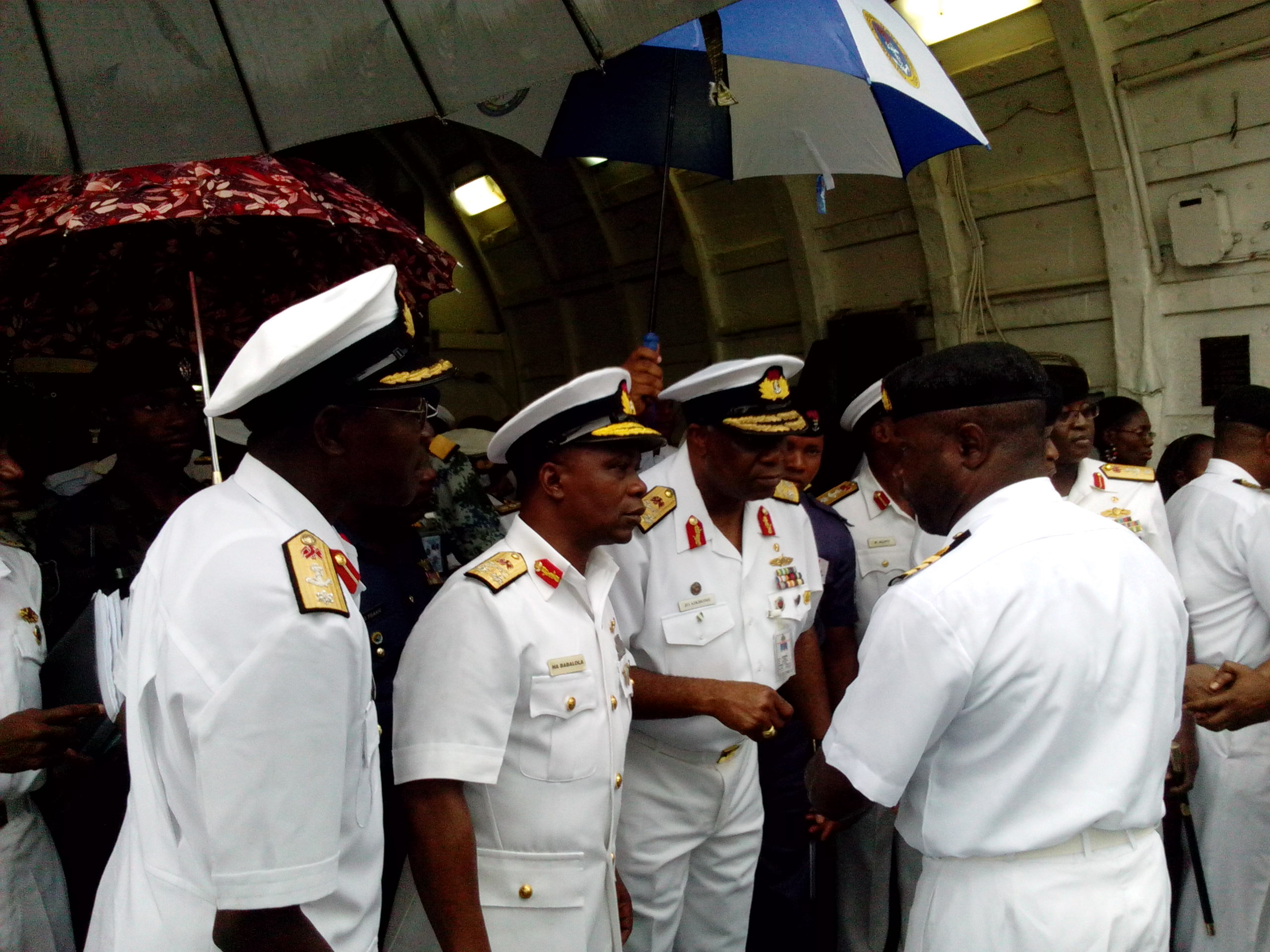 Flag Officer Commanding, Eastern Naval Command, Rear Admiral Jo Aikhomu addressing officers this morning before departure