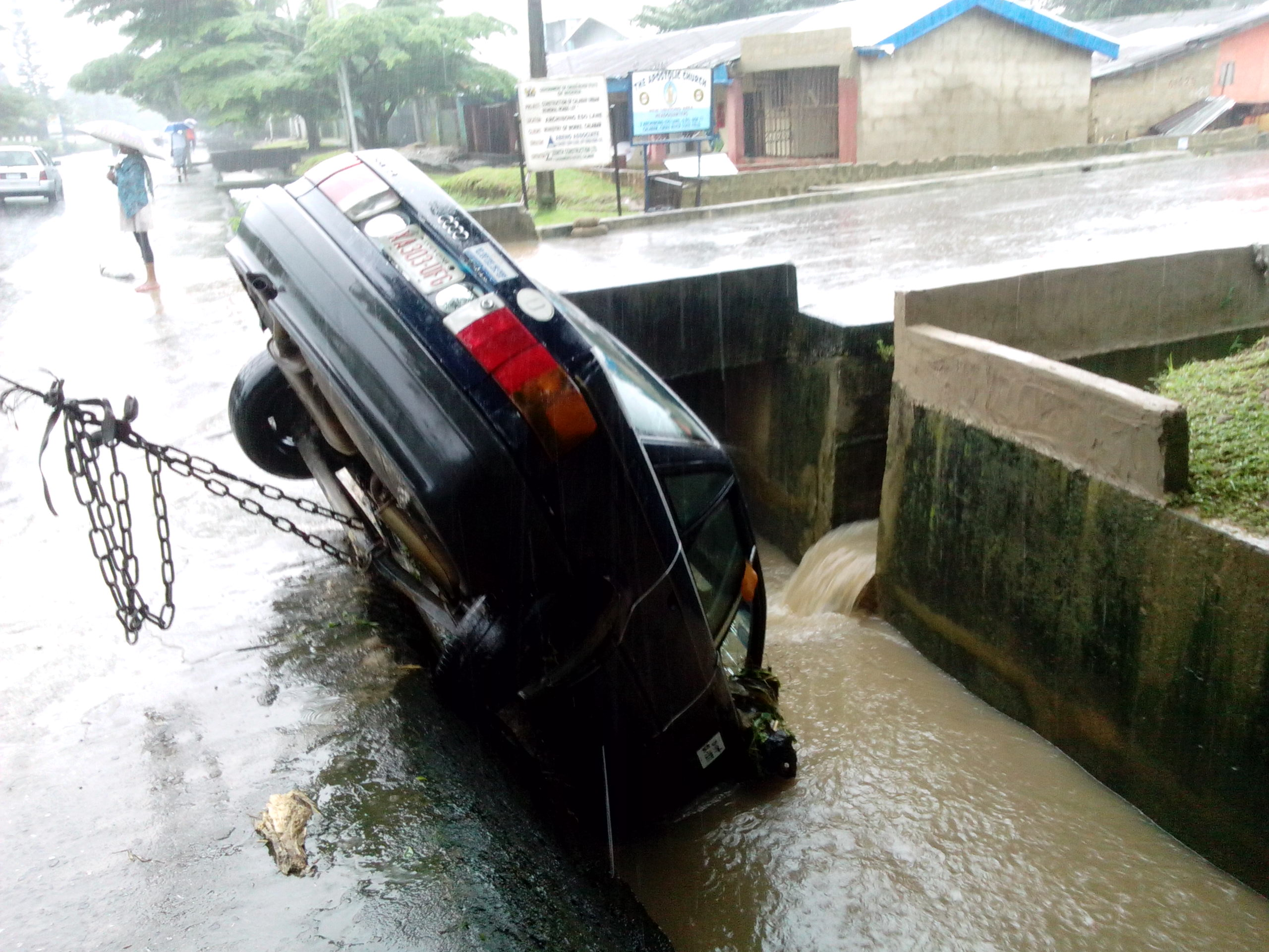 The affected taxi in the drainage