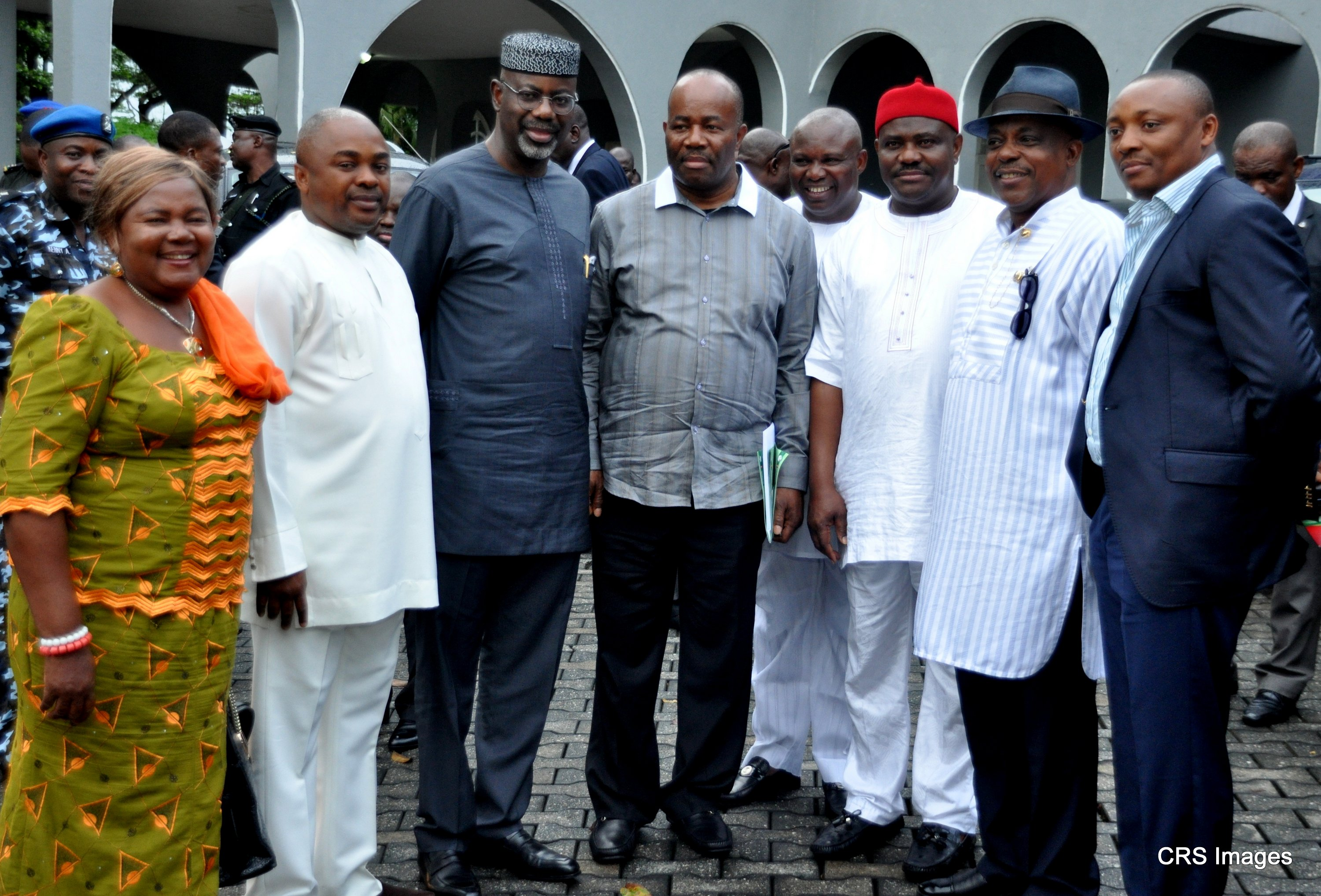 From left: PDP Women Leader S-S,Elizabeth Essien, Speaker, Akwa Ibom State House of Assembly,Hon. Sam Ikon, Cross River State Governor, Senator Liyel Imoke, Chairman, PDP Governors' Forum and Governor Akwa Ibom State, Chief Godswill Akpabio, Publicity Secretary of the zone, Imo-Owo Okpokpo, Minister of State for Education,Chief Nyesom Wike, National Organizing Secretary, Prince Uche Secondus,Hon. Emma Ekon member House of Rep. shortly after the PDP,South-South expanded zonal executive committee meeting in Calabar.