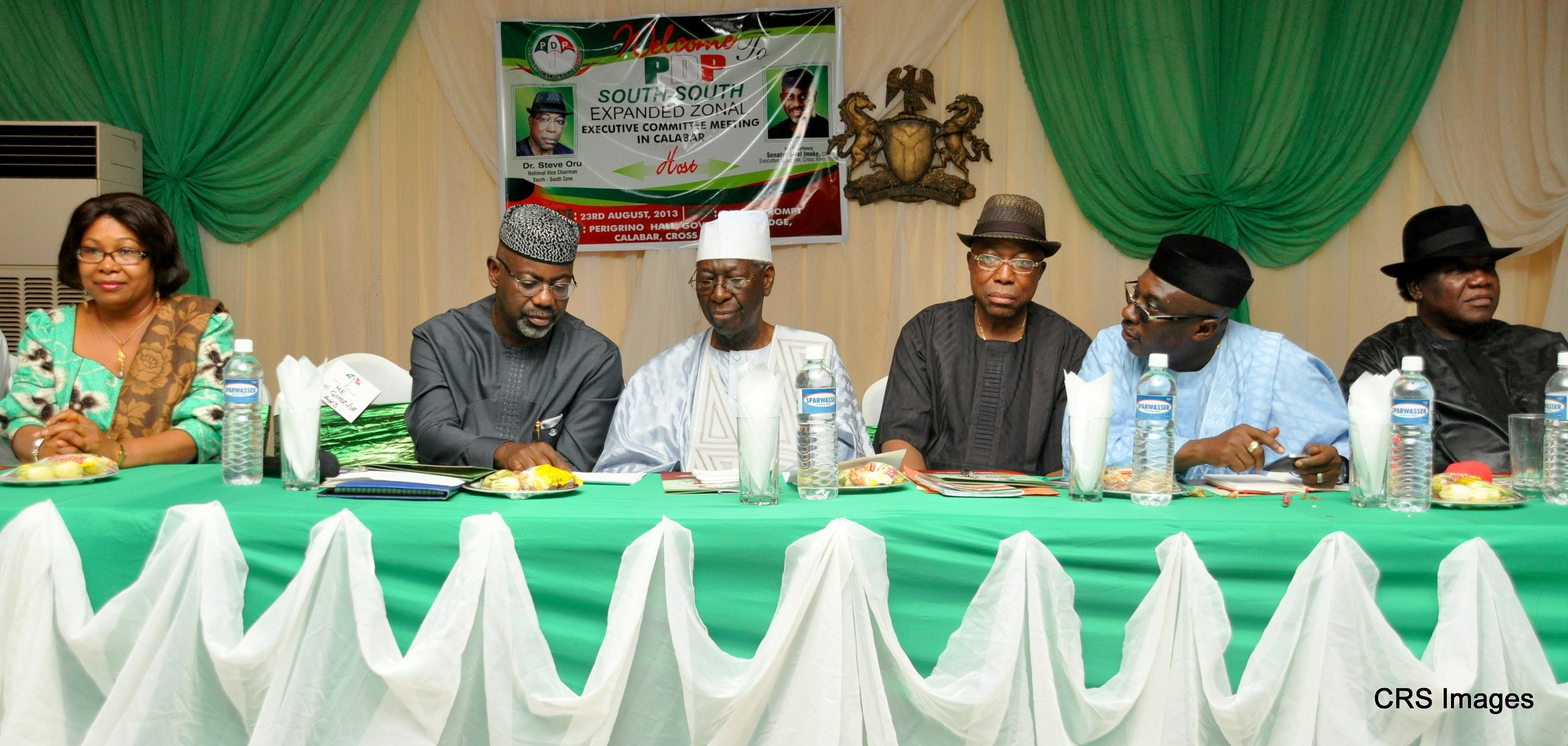 From left: Senator Helen Esuene, Senator Liyel Imoke, Chief Tony Anenih, National Vice Chairman south-south, Dr. Steve Oru,Chief of staff to President Jonathan, Chief Mike Oghiadomhe, Minister of Tourism and National Orientation, Chief Edem Duke at the opening ceremony of the PDP, South-South expanded zonal executive committee meeting in Calabar.