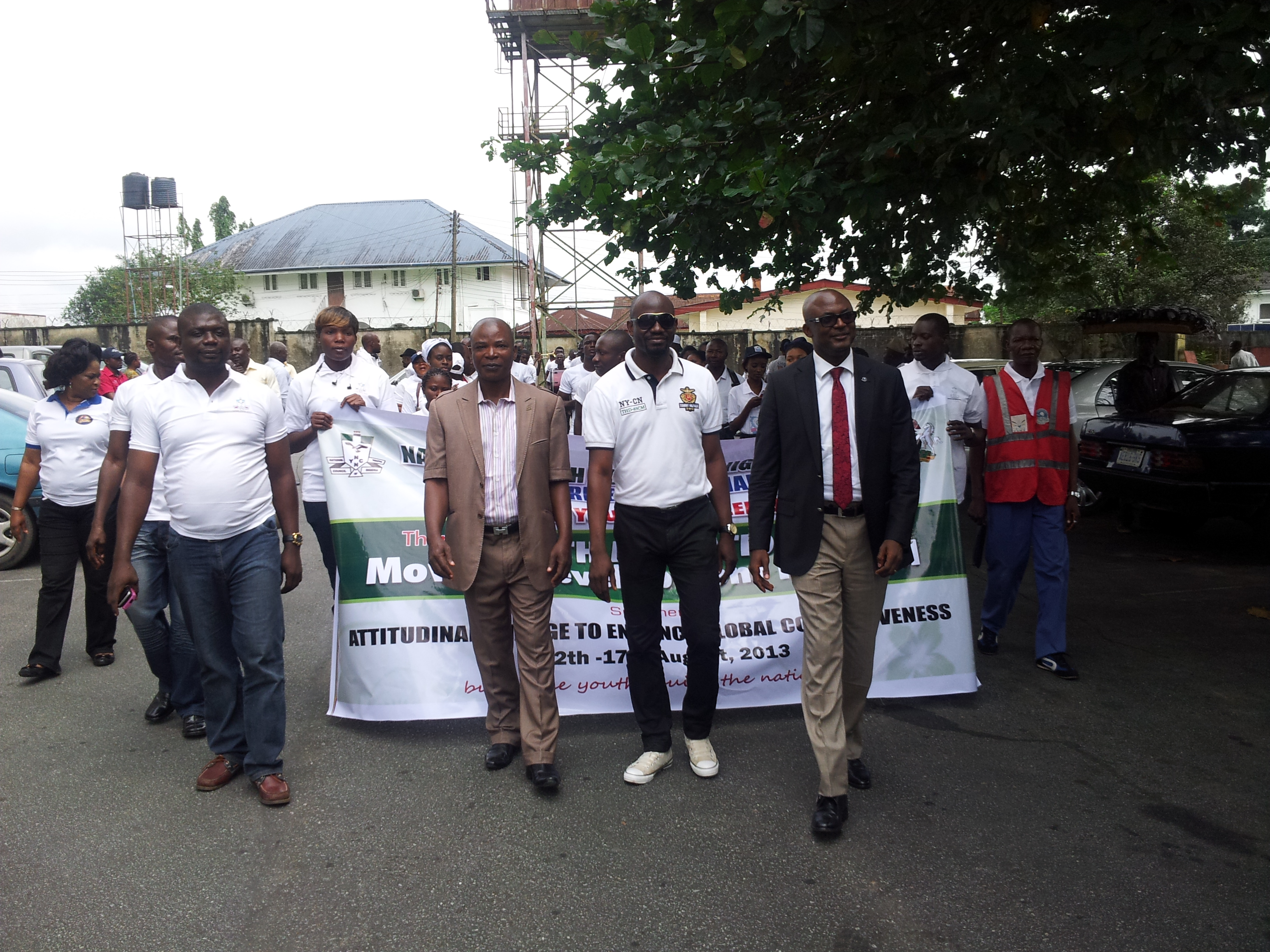 Cross River State Commissioner for Youths and Sports Development (front right) leading the City Walk in Calabar to mark the International Youth Day