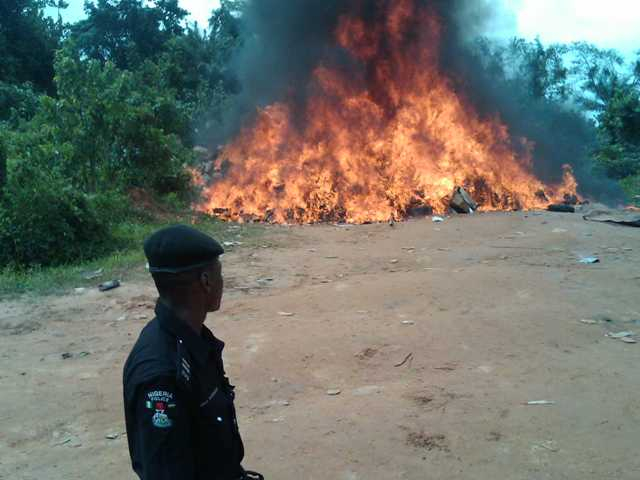 Fake and counterfeit drugs being burnt by NAFDAC officials today in Calabar