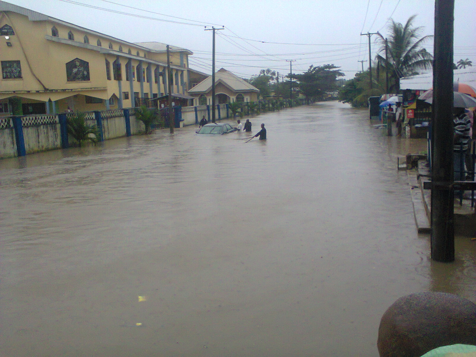 Flooded Calabar streets yesterday
