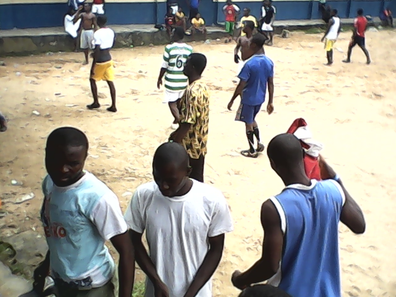 The boys leaving the football field after there were dispersed by the police and PDP agents