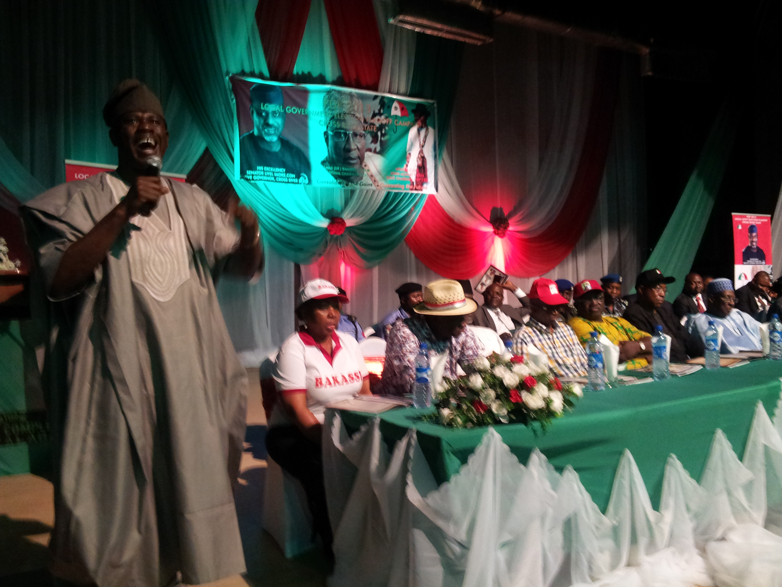 Senator Musiliu Obanikoro in Calabar during the PDP flag off of local government election campaigns