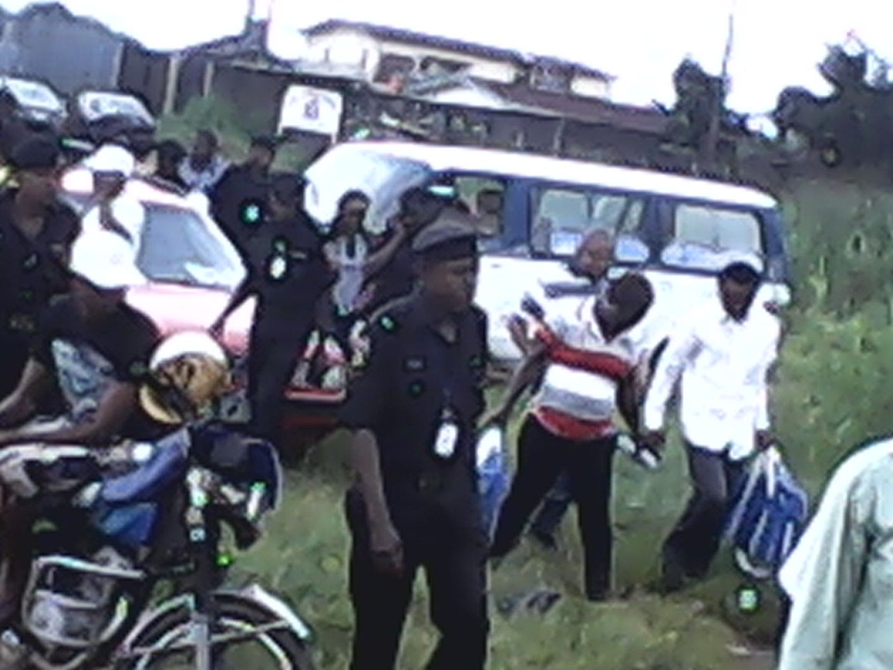 Security men, officials and electoral materials arriving Hawkins Primary School, Calabar South this morning