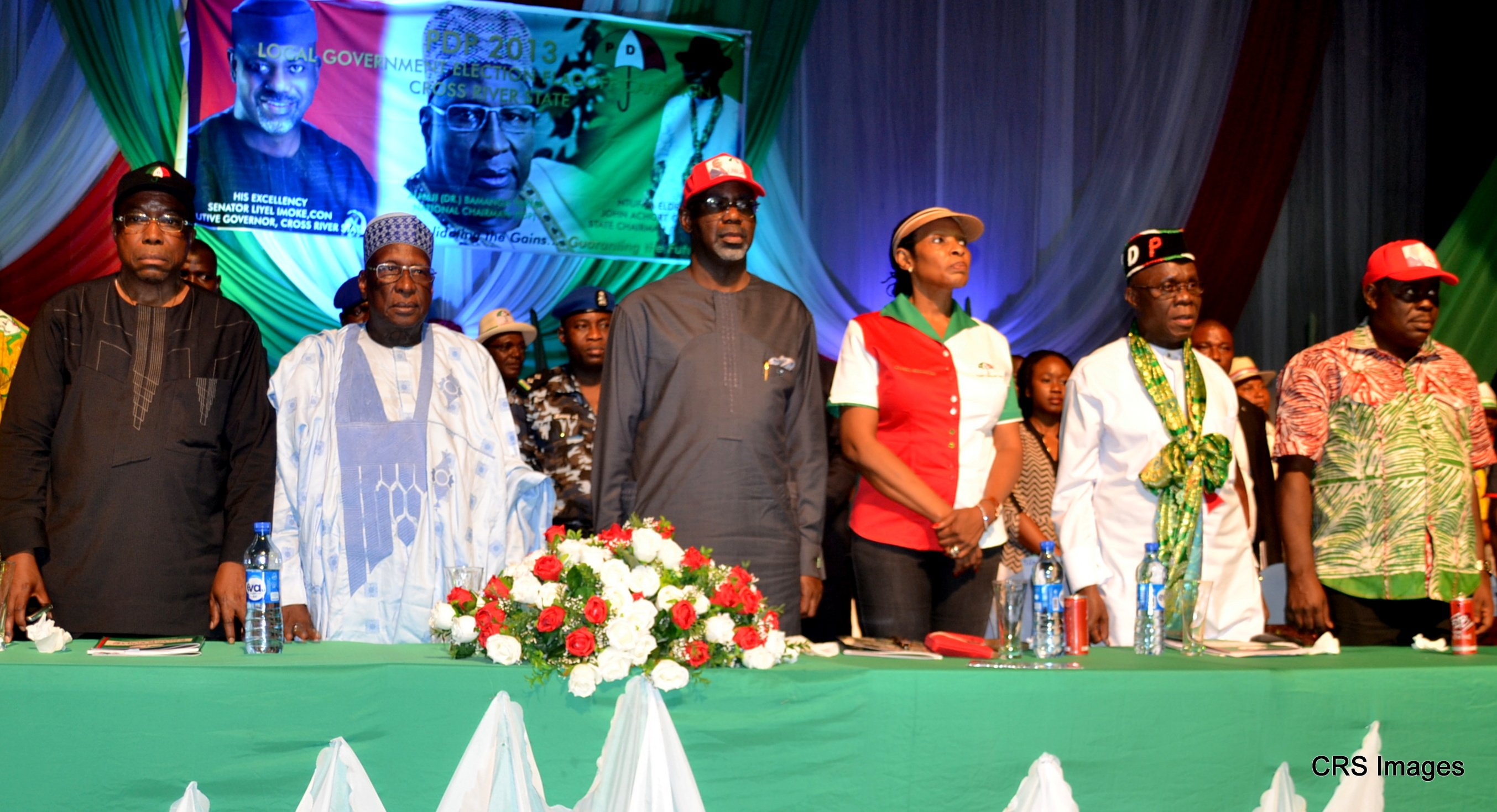 L-R, PDP, Chairman, South-South, Steve Oru, National Chairman, Alhaji Bamanga Tukur, Cross River State Governor Sen. Liyel Imoke, Mrs Obioma Imoke, PDP state Chairman, Ntufam John Okon and Deputy Governor, Mr. Efiok Cobham at the flag-off of Local government Election campaign in Calabar, yesterday
