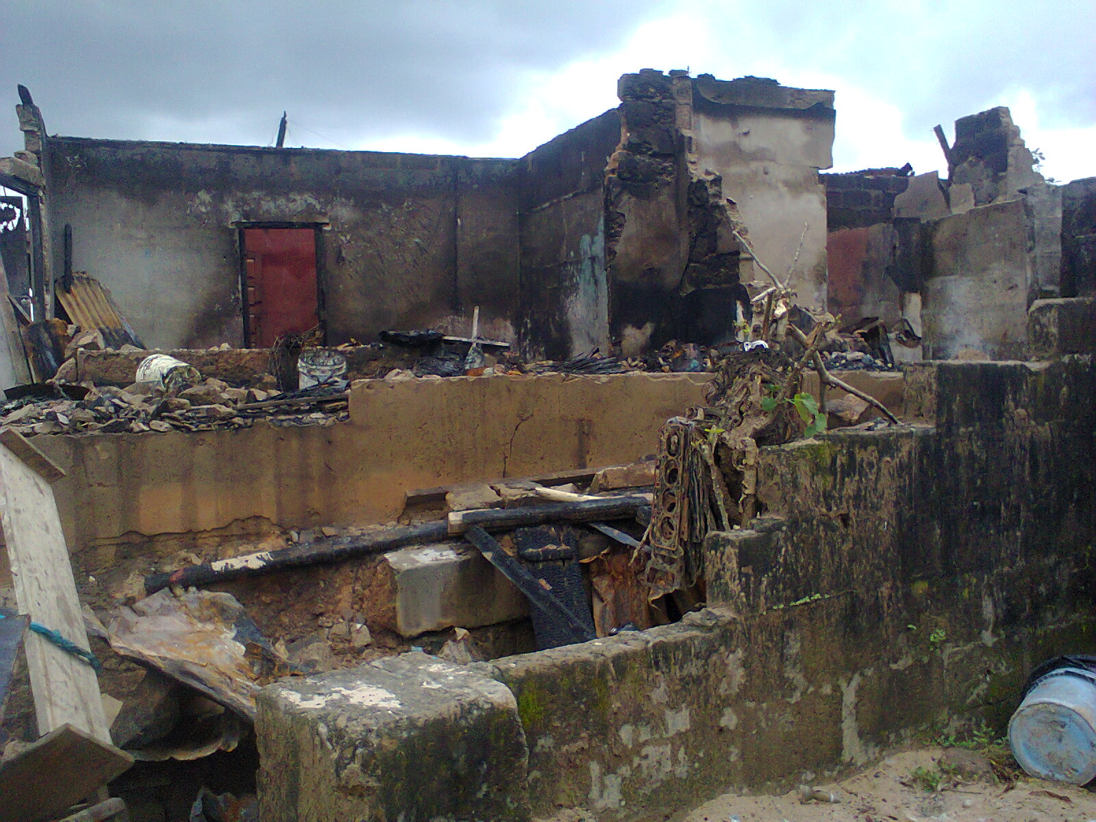 The burnt building in Ugep
