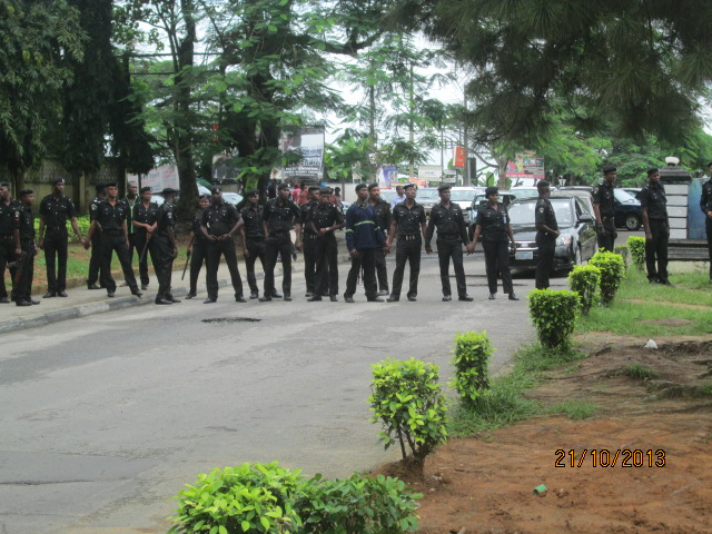 Policemen forming a barricade across Unical gate this morning