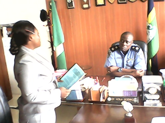 Comrade Agweye Philomina Odah, President NACRISS WW with Mr. Kola Shodipo, CP CRS during the courtesy call yesterday