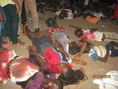 Corpses from the accident this evening