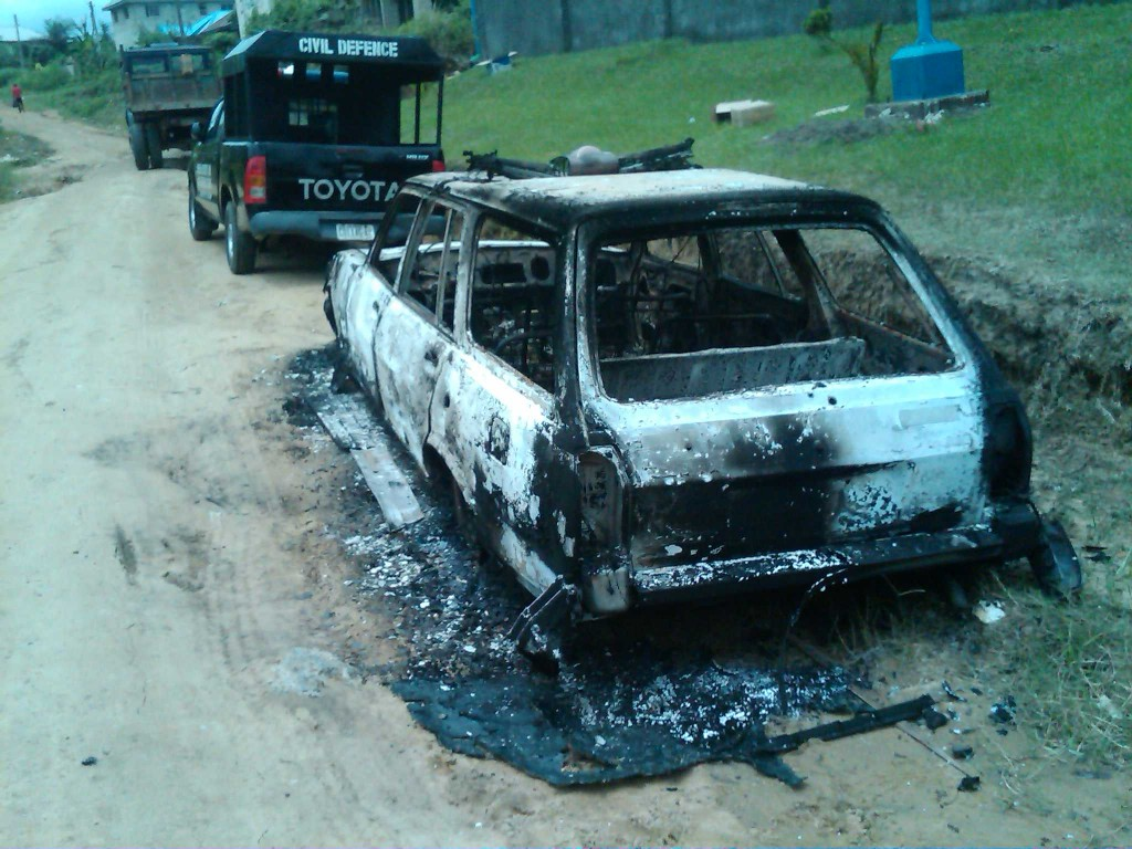 Civil Defence Corps vehicle burnt by the gunmen