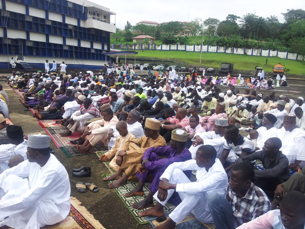Muslim faithfuls at the Eastern Naval Command praying ground in Calabar