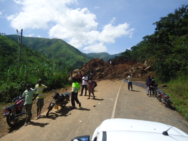 Debris from the mudslide blocking the road