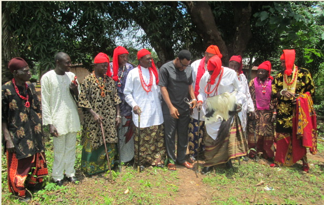 Sunny Nneji (center) and members of the Ekajuk Traditional Council in Ogoja during Nneji's coronation as the Ntol Ashe 1 of Ekajuk