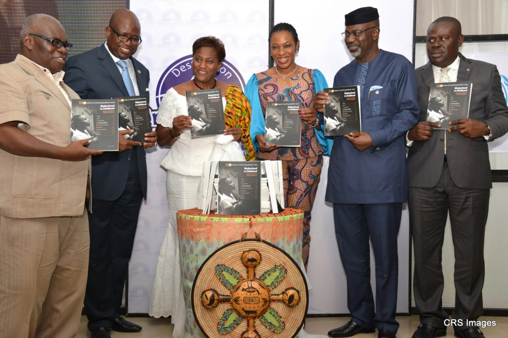 L-R, Ag. Chairman, National Population Commission, Dr. Sam Ahaiwe, Resident Coordinator, UN System. Mr. Dauda Toure, UNFPA Representative, Ms. Victoria Akyeampong, Mrs. Obioma Liyel Imoke, Governor Liyel Imoke and his Deputy, Mr. Efiok Cobham shortly after the launch of the 2013 State of The World Population(SWOP) /commemoration of the Int'l Day of the Girl Child in Calabar, yesterday