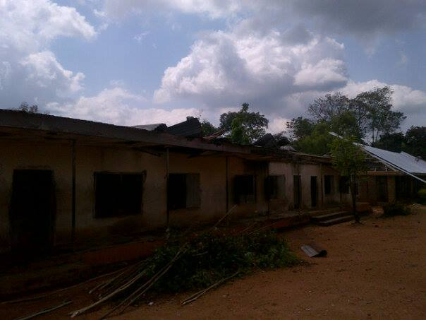 The only block that still had a roof in the school. Portions were blown away by the rainstorm