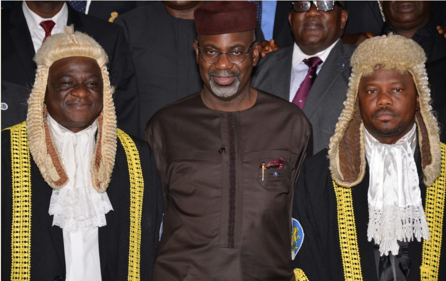 Speaker, Larry Odey (L), Gov Imoke (M) and Deputy Speaker, Asuquo Nyong shortly after the budget presentation in Calabar