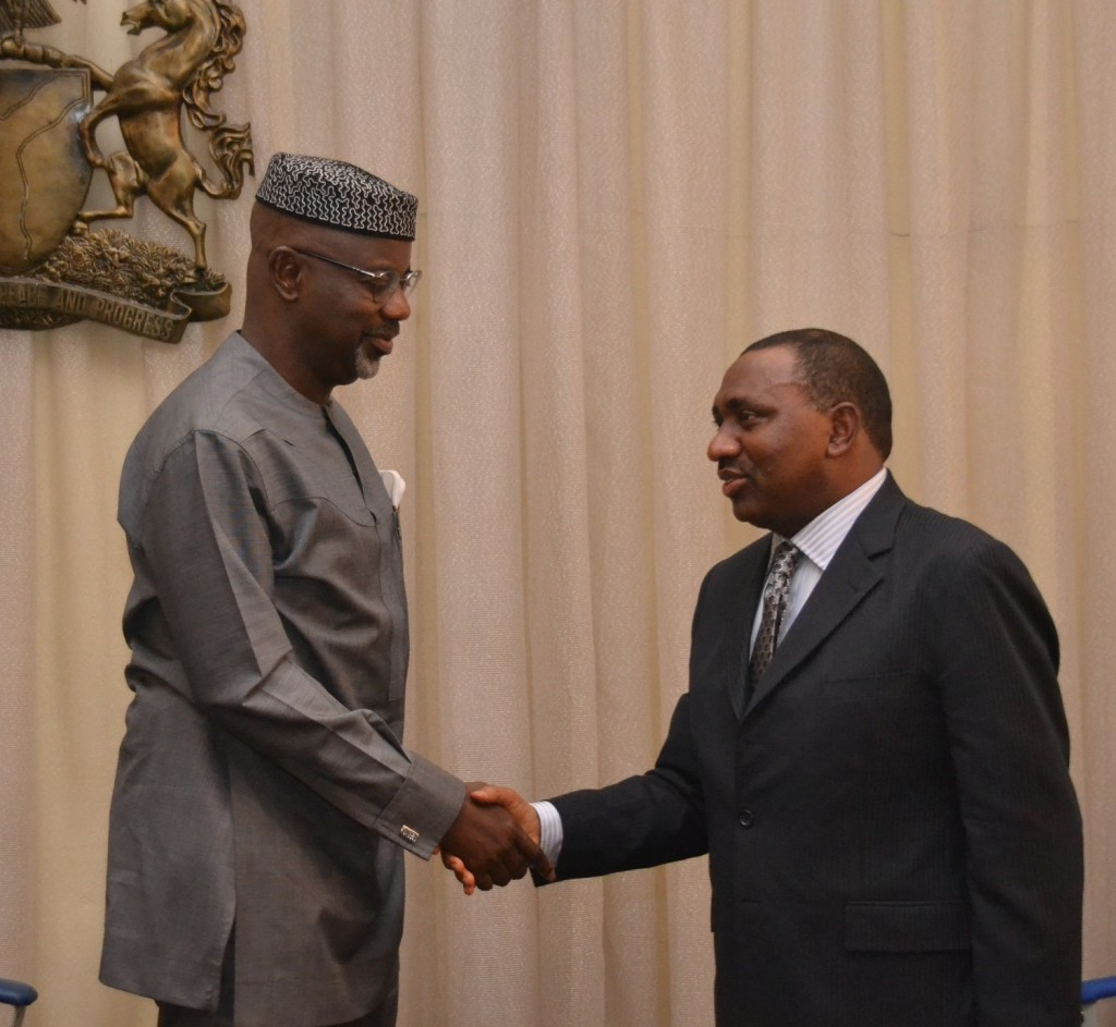 Cross River State Governor, Senator Liyel Imoke welcoming the Honorable Minister of State for Works and Supervising Minister of National planning, Amb Bashir Yuguda to Government House Calabar, yesterday on a courtesy visit