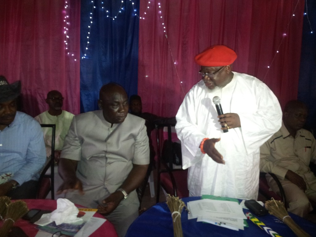 APC National Leader, Chief Tom Ikimi addressing party faithfuls while Hon. Alex Irek, Minority Leader, Cross River House of Assembly and newly elected Chairman of APC State Working Committee watches