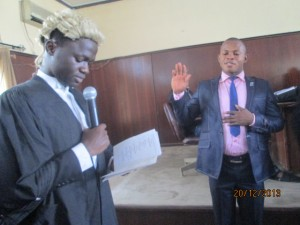 The Officer Of Oaths administring Oath of Office to the new NUCJ UNICAL President on Saturday