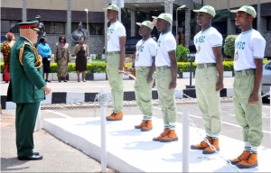 Director General of NYSC, Brig.-Gen. Nnamdi Okorie-Affia, Inspecting a Guard  of Honor by Corp Members