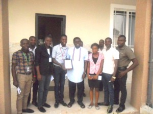 Hon. Daniel Asuquo (middle with plaque) and a cross section of the Union leaders after the award presentation
