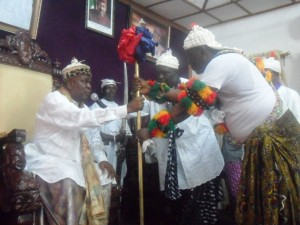 Obong of Calabar presenting Staff of Office to the Etubom of Ikot Ene-Obong House