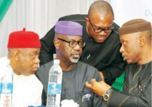 Ondo State Governor, Olusegun Mimiko (right), his counterparts from Anambra, Peter Obi (second right), Cross River, Liyel Imoke (second left), and Abia State, Theodore Orji, during the Southern Leaders' Summit, in Calabar, Cross-River State on Monday
